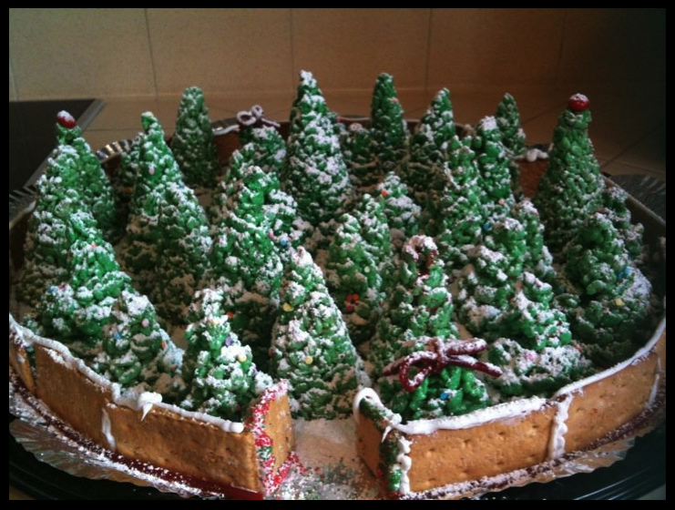 Rice Crispy Christmas Tree's!  They're very easy and were a hit at the cookie exchange for work!