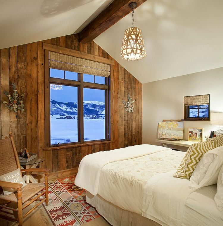 Deko Ideen Schlafzimmer rustikaler Stil herrliche Schneelandschaft - deko ideen schlafzimmer