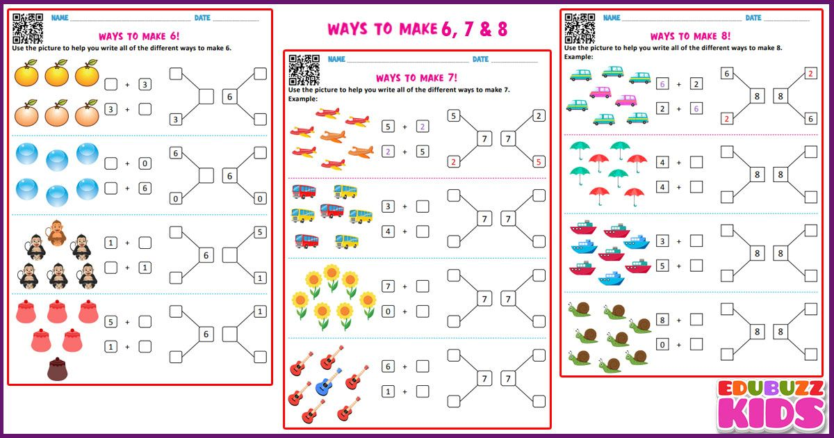 Free Downloadable Math Ways To Make A Number Worksheets For The Kids Of Grade1 Kindergarten With Common Core Stan Math Addition Worksheets Math Addition Math