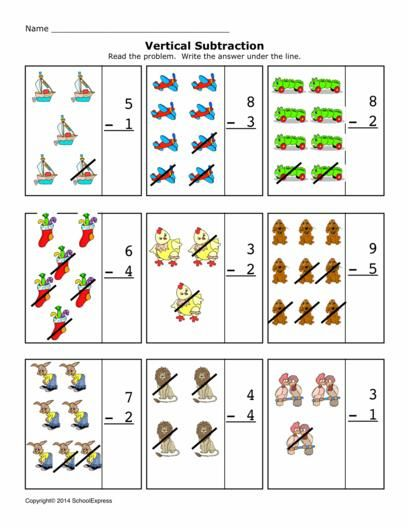 Free Math Worksheets, Subtraction Differences 0-10, Vertical