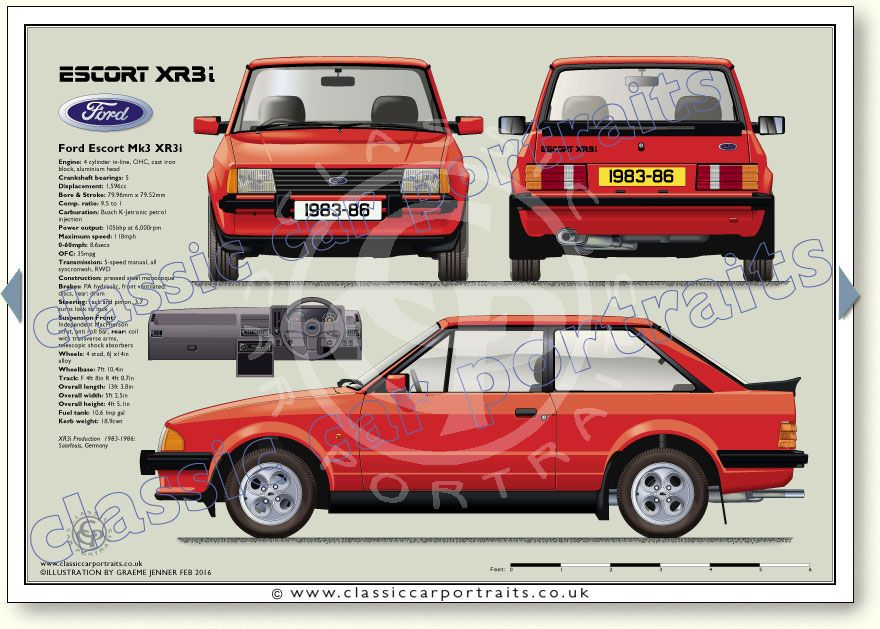 Xr3i 3dr 1983 86 Classic Car Portrait Ford Classic Cars Cars