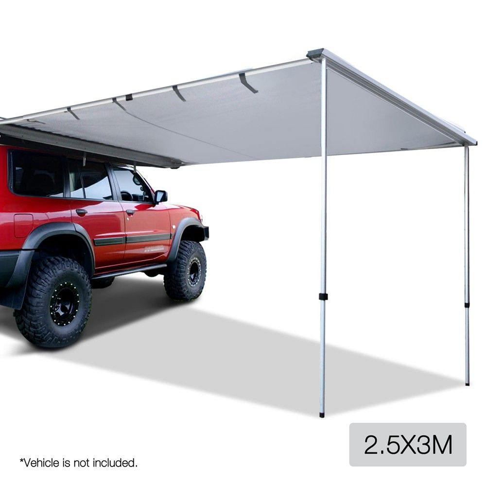 25x3M Side Awning For Car Vehicle Roof Camper Trailer 4WD 4x4 Camping Grey