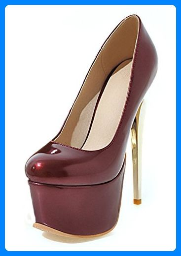 0e15029a0fecbd Aisun Damen Sexy High Heels Lackleder Runde Zehen Plateau Pumps Weinrot 38  EU - Damen pumps ( Partner-Link)