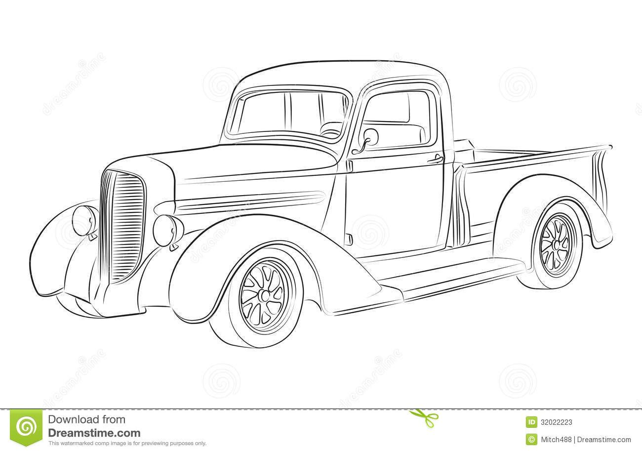 Old School Hot Rod Trucks Drawing Sketch Coloring Page