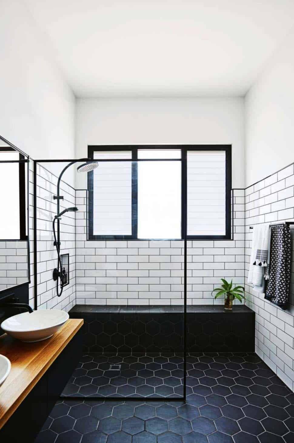25 Incredibly Stylish Black And White Bathroom Ideas To Inspire Bathroom Interior Design Black Bathroom Small Bathroom Remodel Black and white bathroom floor