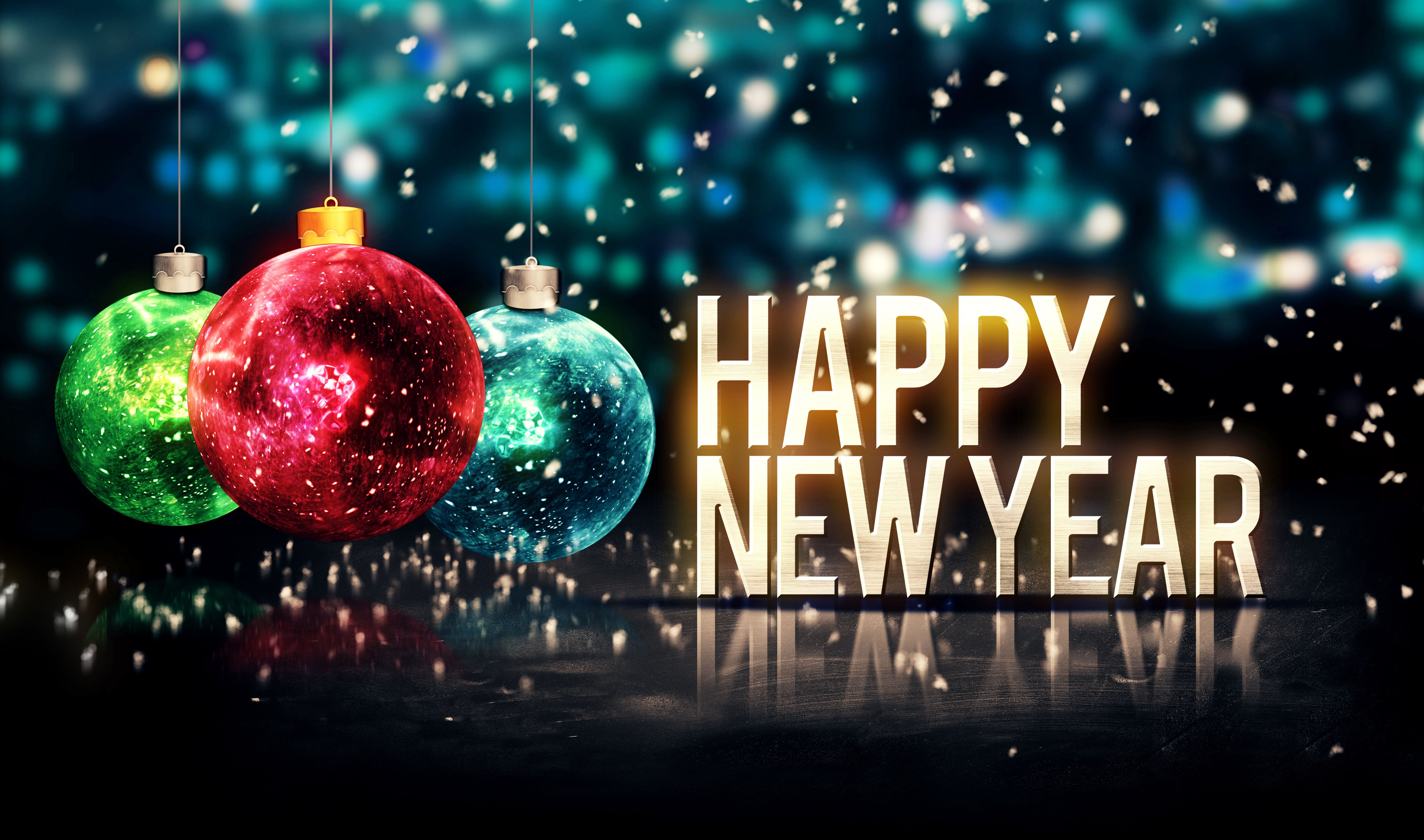 Happy New Year 2015 Balls Glitter Bokeh Decoration Desktop Happy New Year Wishes Happy New Year Wallpaper Happy New Year Images