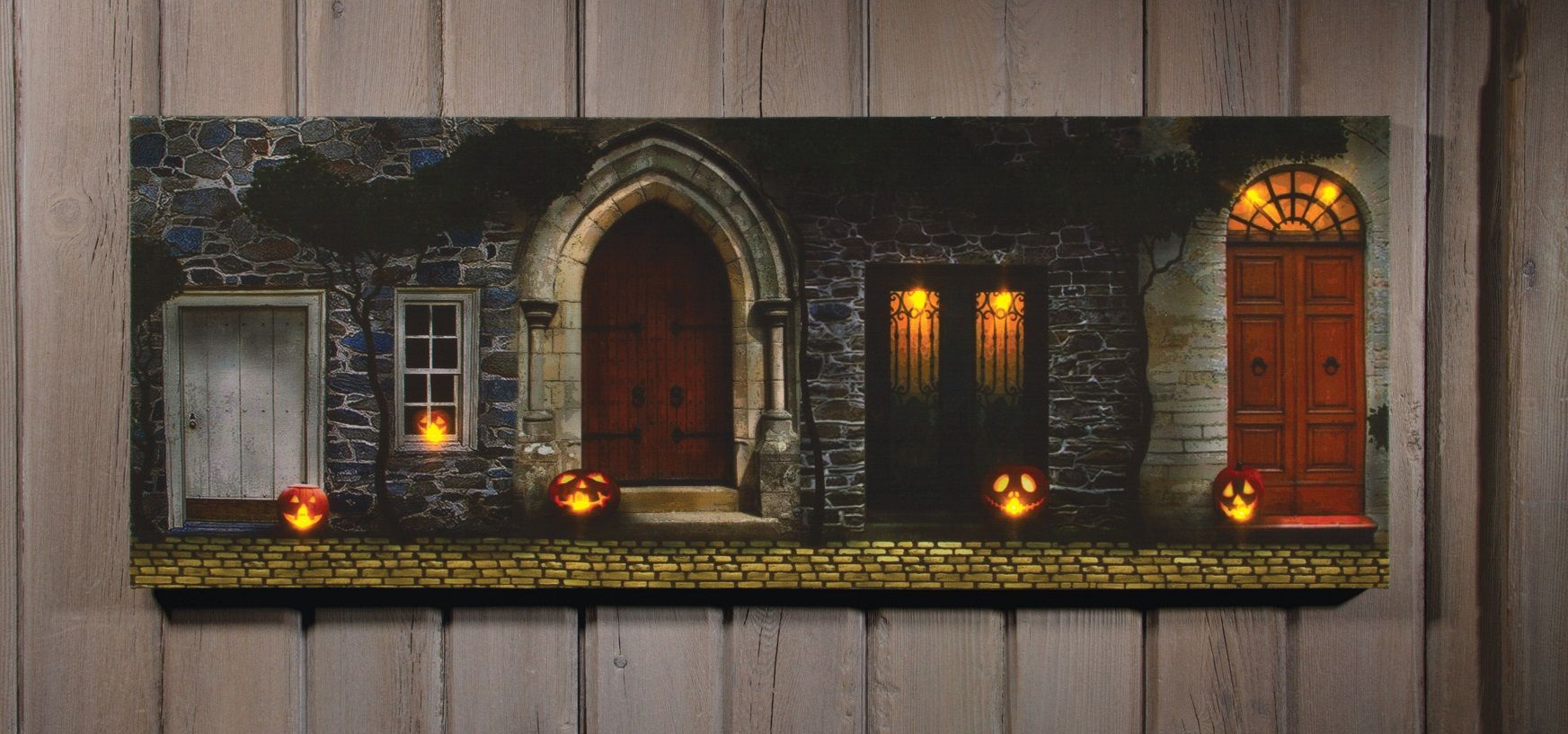 Radiance Lighted Canvas Large Halloween Front Door With Jack O Lantern Shelley B Home And Holiday Radiance Lighted Canvas Halloween Front Doors Lighted Canvas