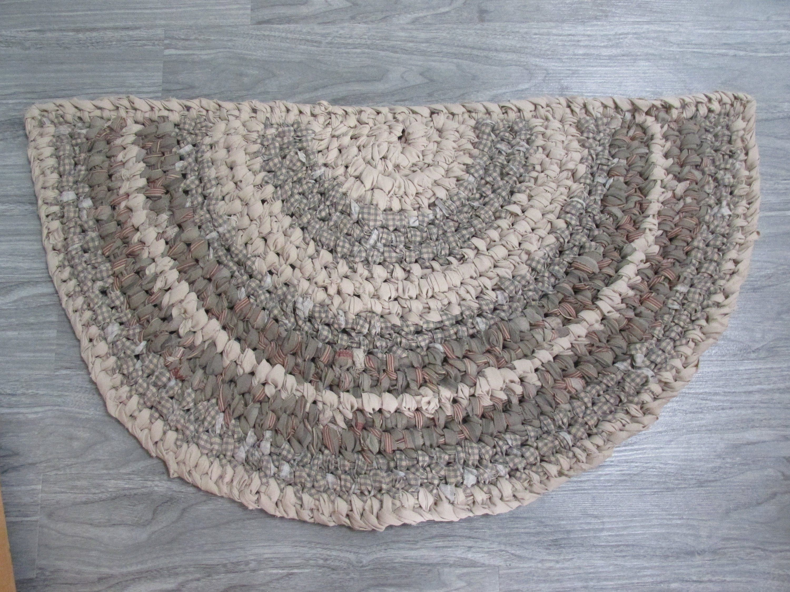 Handmade Half Moon Half Circle Amish Knot Toothbrush Rag Rug Bathroom Kitchen Cotton Rug Handmade Rag Rug Small Boho Rugs Rugs