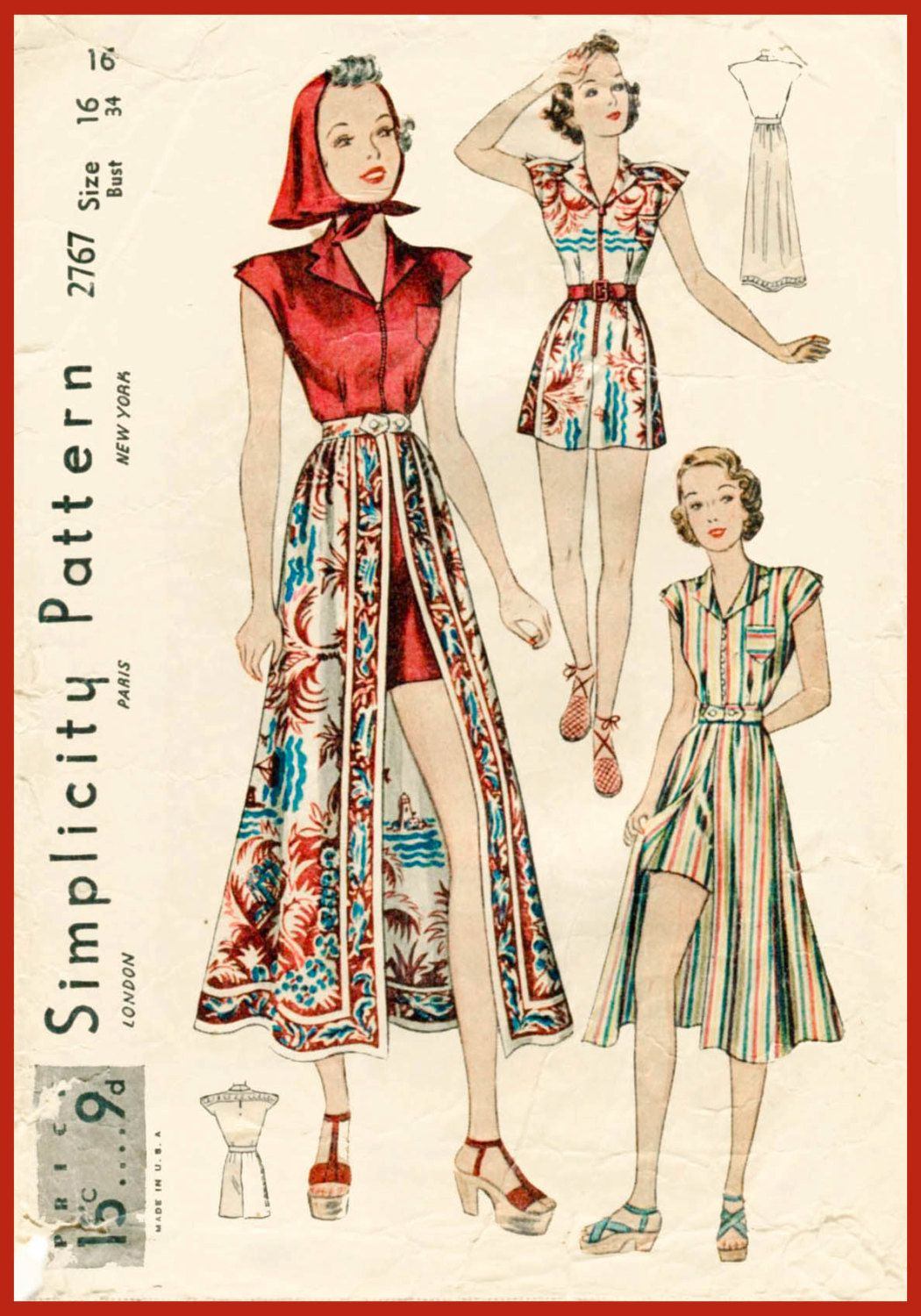 f277854360a 1930s 30s vintage sewing pattern playsuit skirt beach romper ...