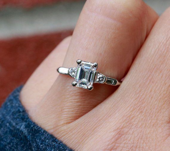 145fd1e39 FALL SALE 1930's Platinum .93ct Emerald Cut Diamond Ring - Size 5 in ...