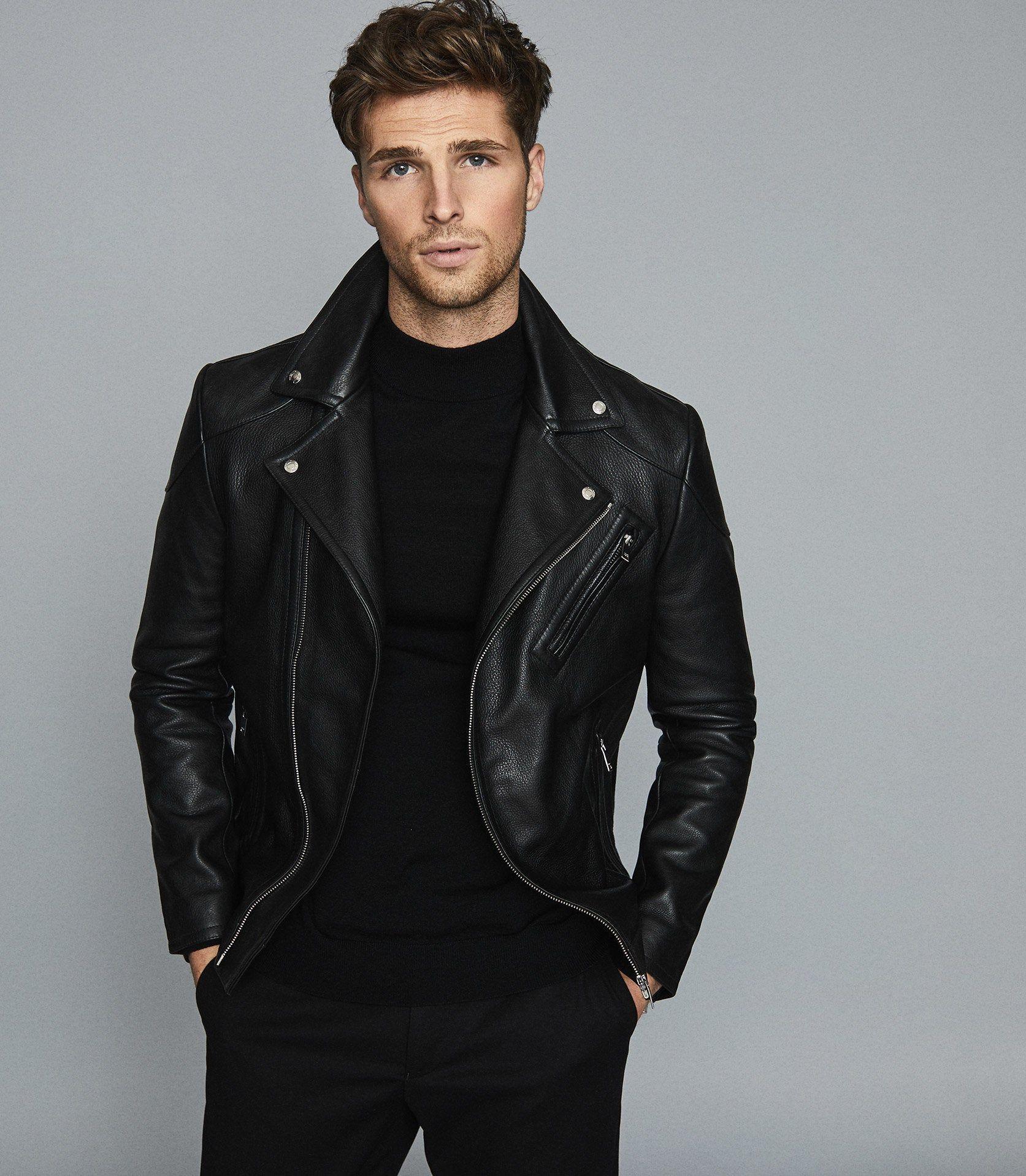Reiss Mimo Leather Biker Jacket In Black Mens Size Xs Black Leather Jacket Men Best Leather Jacket Brands Best Leather Jackets [ 1918 x 1673 Pixel ]