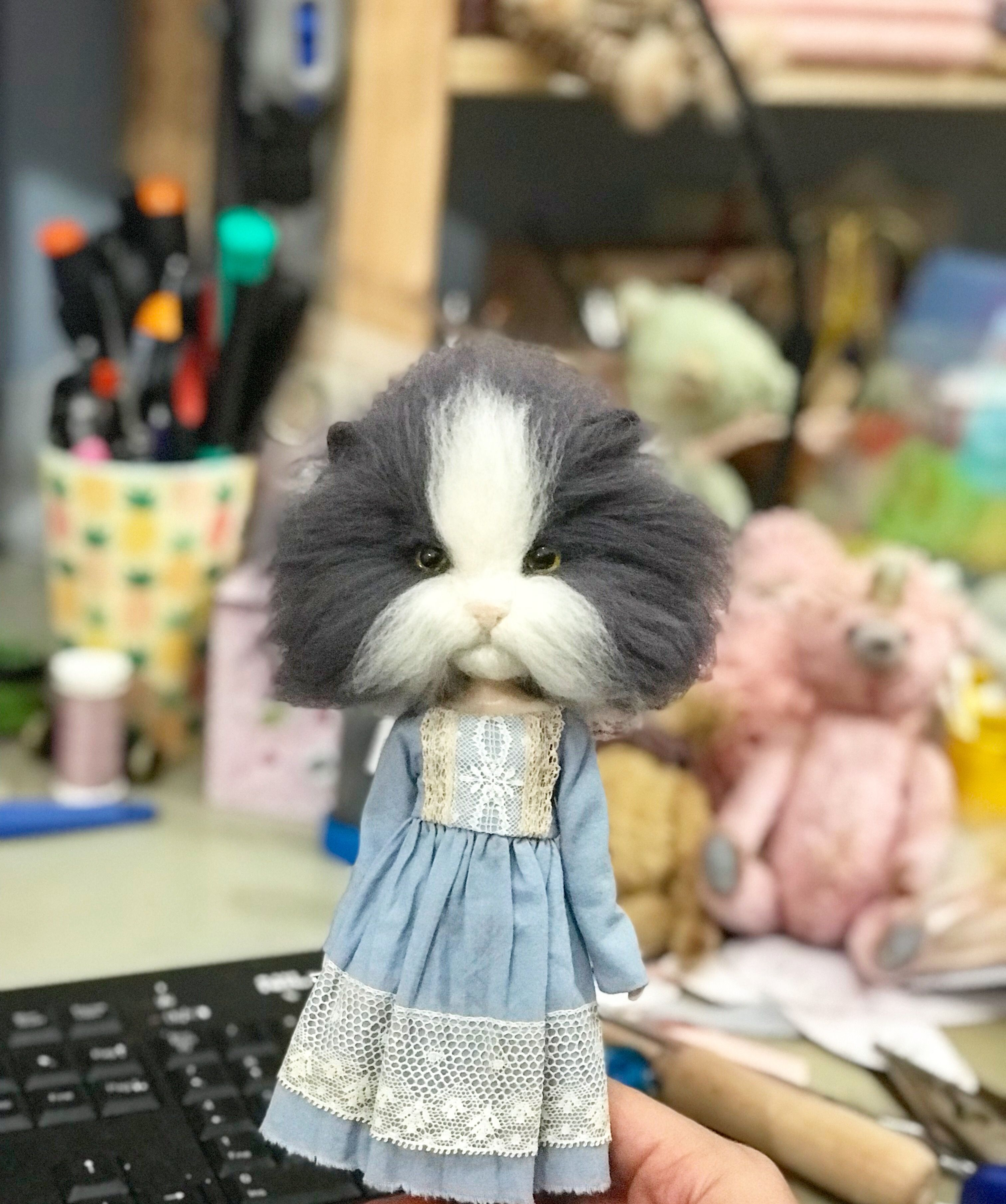 Little Madelene looking for her forever home for more info send me a pm She is made in merino wool on a stock blythe body  Little Madelene looking for her forever home fo...