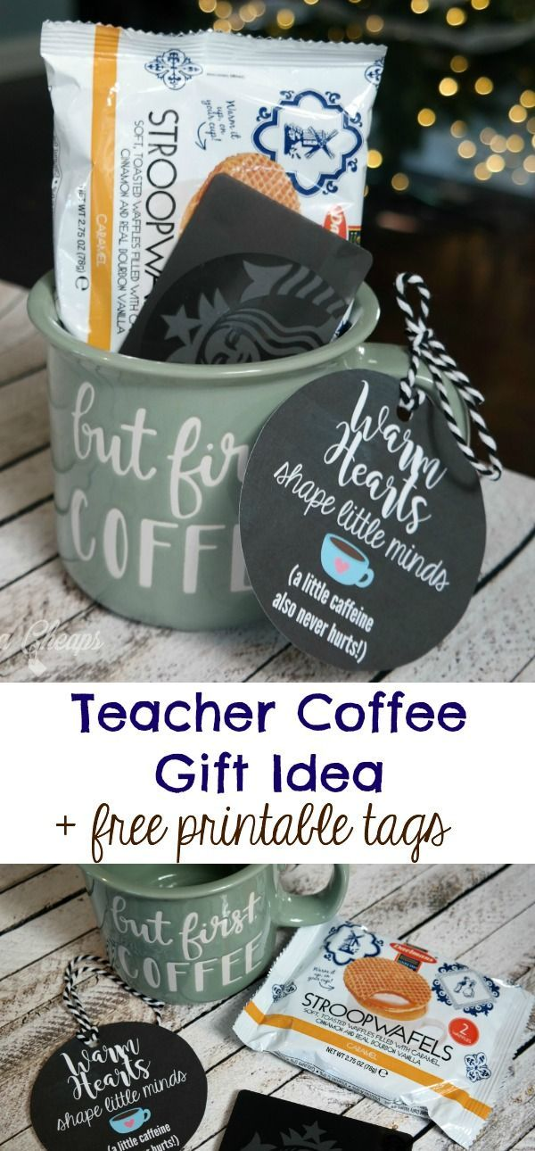 Coffee mug with gift card teacher gift idea printable tag negle
