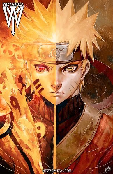 9 Tails Sage Mode Split Naruto Shippuden Anime Naruto Uzumaki