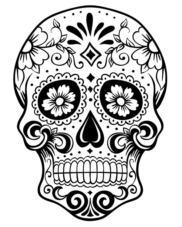 click here to download the free printable pdf coloring page the sugar skull is great for both kids and adults who like to color - Sugar Skulls Coloring Pages Free