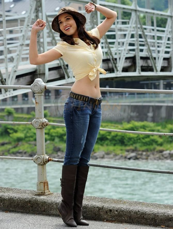 Indian Actor Tamannaah in Cropped Top w/ Jeans & Boots ...