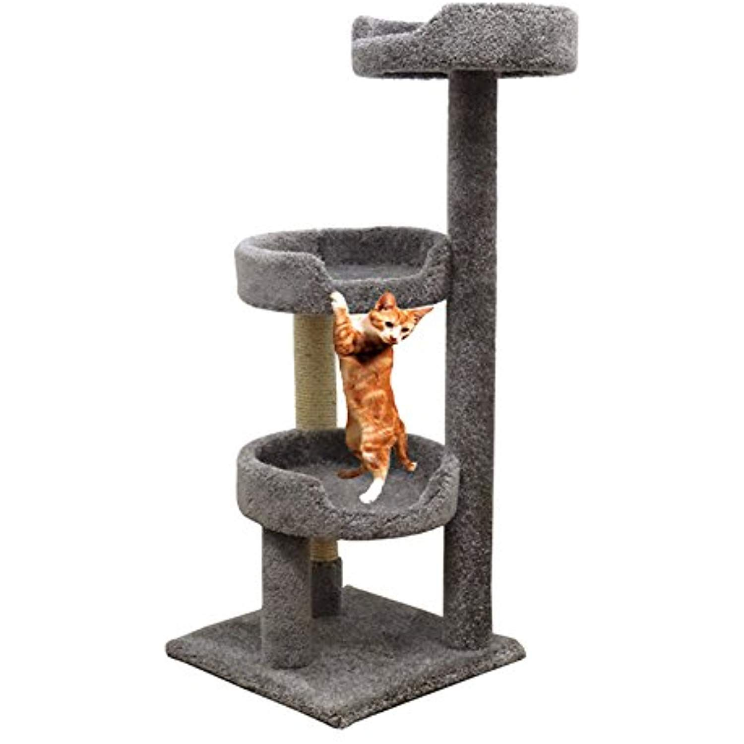 Kitty Tower Scratching In Gray Cat Tree