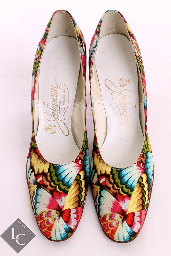 Vintage 50's Johansen Multi Color Floral Round Pointed Toe Heels Sz 8 on Etsy, $40.00