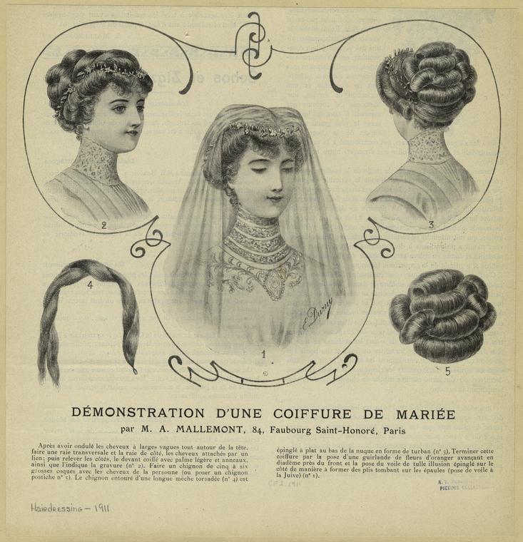Démonstration D'Une Coiffure De Mariée Par M. A. Mallemont, 84, Faubourg Saint-Honoré, Paris. 1911