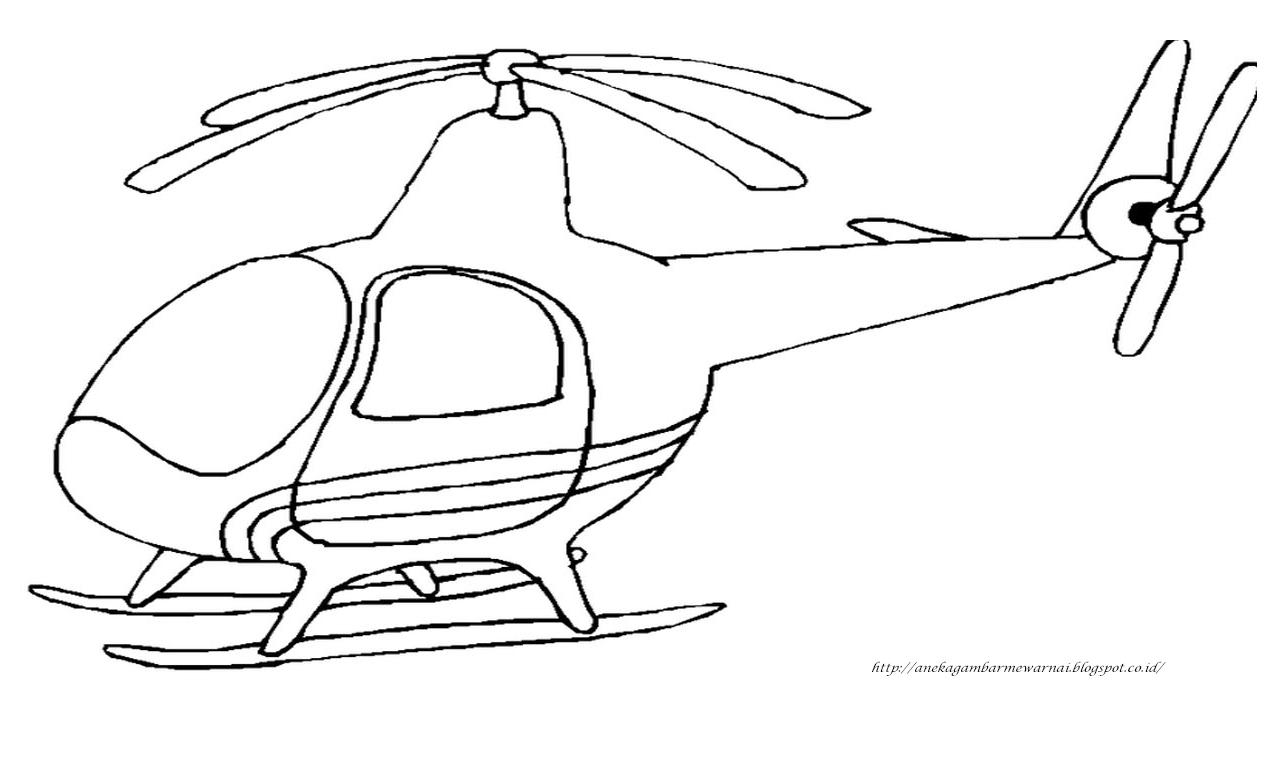Gambar Mewarnai Helikopter Untuk Anak PAUD Dan TK 3 Dengan