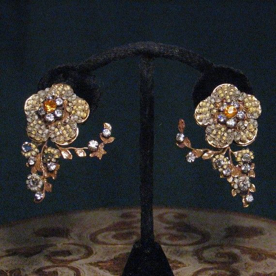 Signed Robert Floral Branch Beaded and Rhinestone Ivory and Gold Earrings. $89.00, via Etsy.