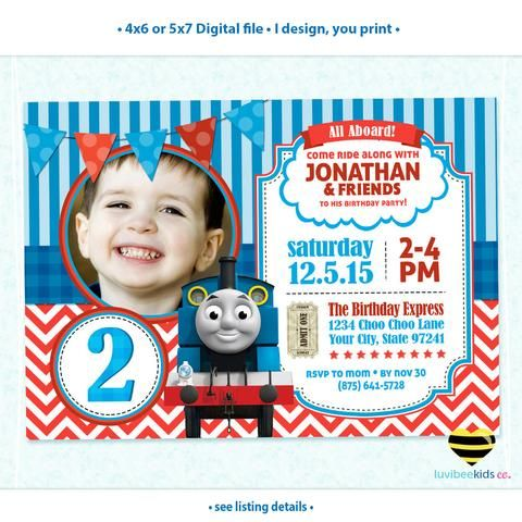 Thomas the Train Invitation with Photo Any Name Age Printable
