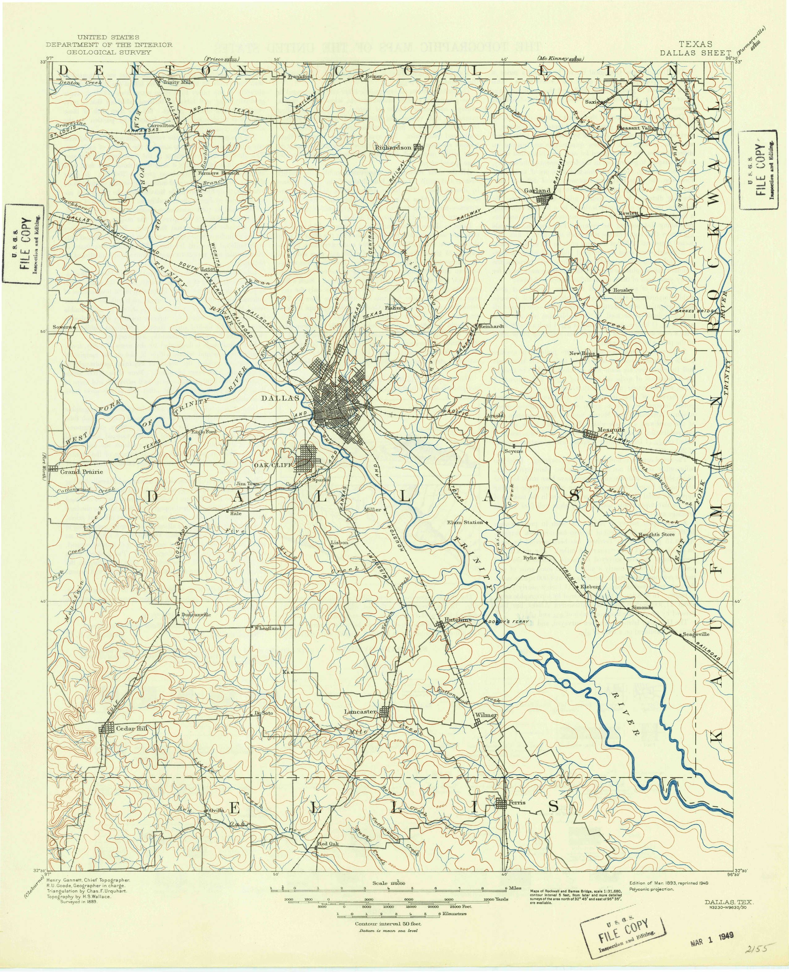 Dallas, TX—1893. Map from the USGS Historical Topographic Map ...