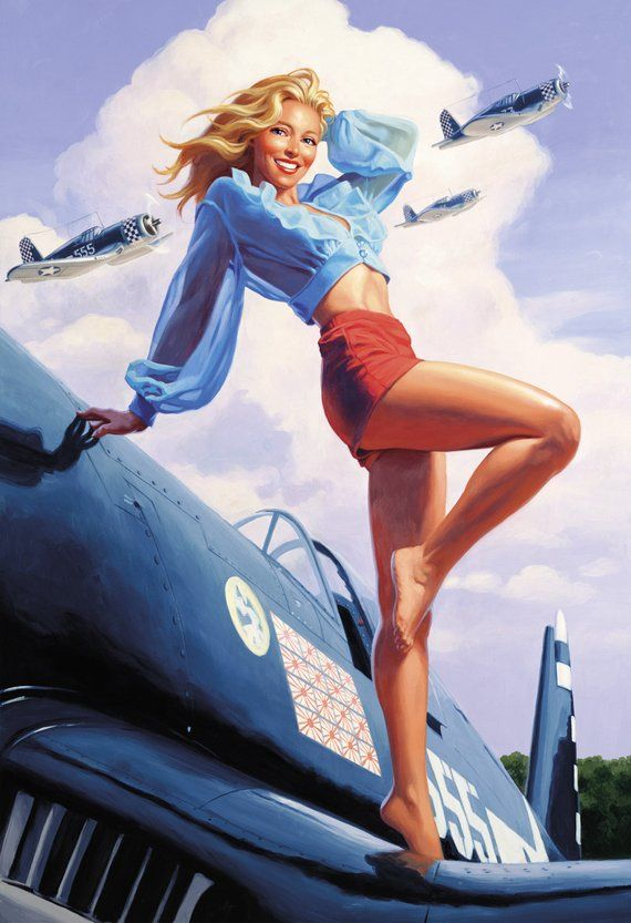 Photo of Pinup Wall Art – LIMITED edition – Made in the USA Airplane – Canvas Giclee – Hand signed and hand numbered by artist Greg Hildebrandt