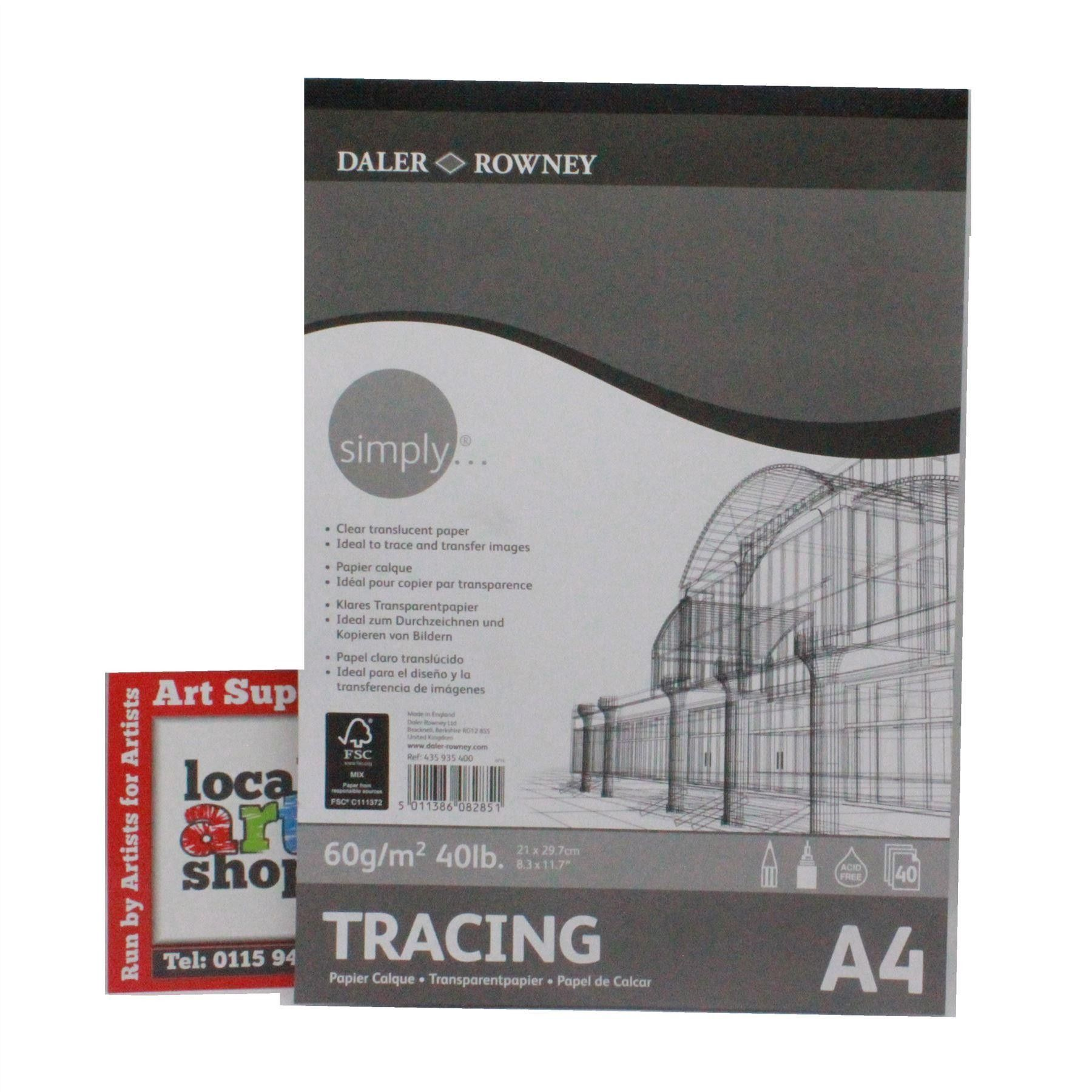 Daler Rowney Simply Tracing Paper Pad 60gsm A4 Paper Paper