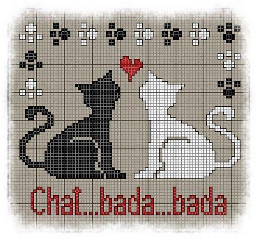 Grille point de croix pour Chats amoureux   Chats en points de croix, Animaux de point de croix ...