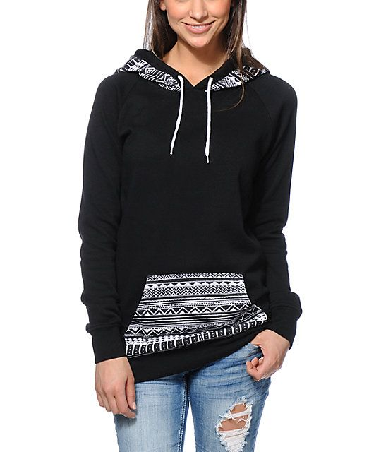 Empyre Long Beach Tribal Print Black Pullover Hoodie | Tribal ...
