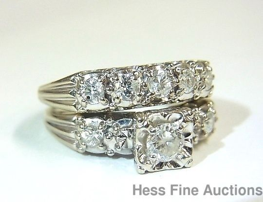 Superior Art Deco Vintage Diamond Engagement 14k Gold Wedding 1940s