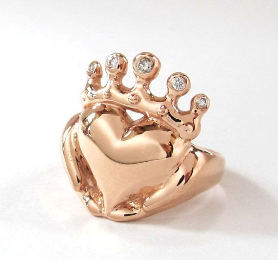 Solid Gold or Platinum Claddagh Ring Handmade Irish Jewelry