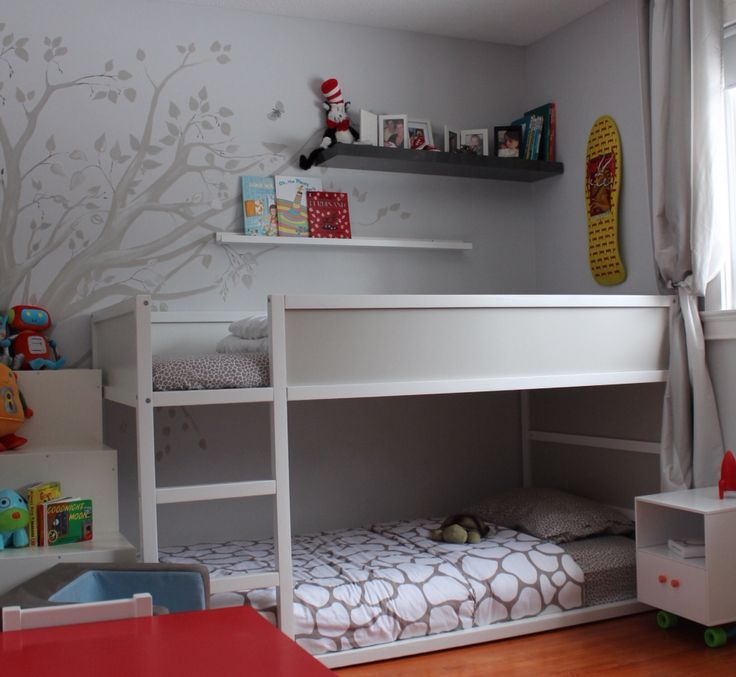Bedroom Wall Decor Ikea Bedroom Under Window Cute Anime Bedroom Blue And Brown Bedroom Ideas: White-gray IKEA Kura For A Neutral Kids Room-wall Mural