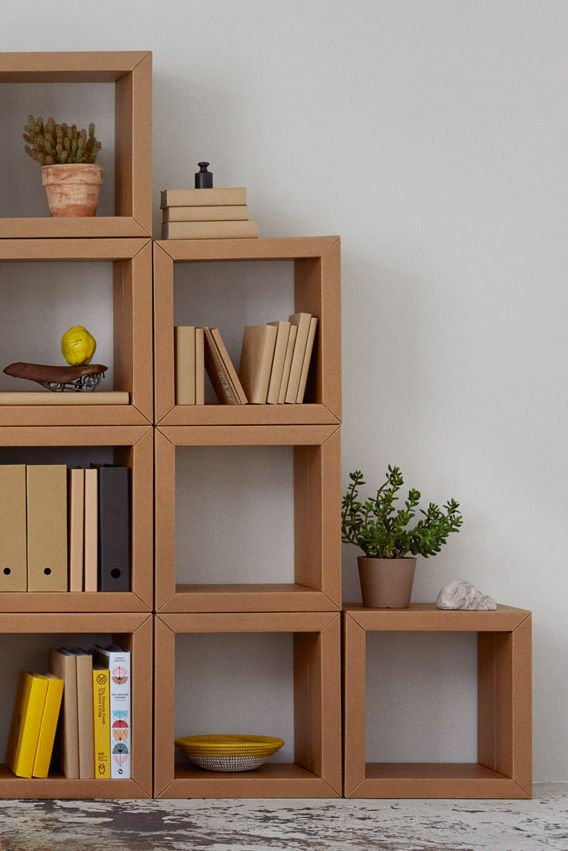 Fold your own bookshelf with our shelving unit ELEMENT     * * *     #allesauspappe #shelflove #office #work #desk #shelf #cardboardfurniture #pappmöbel #furniture #carton #interior #original #familybusiness #productdesign #sustainable #recycled #recycable #noplastic #plasticfree #vegan
