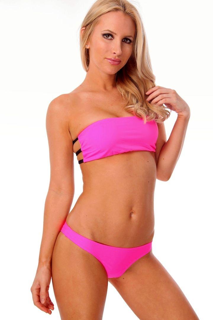 minimalist neon pink bandaeu bikini set cicihot two piece swimsuits online store two piece. Black Bedroom Furniture Sets. Home Design Ideas