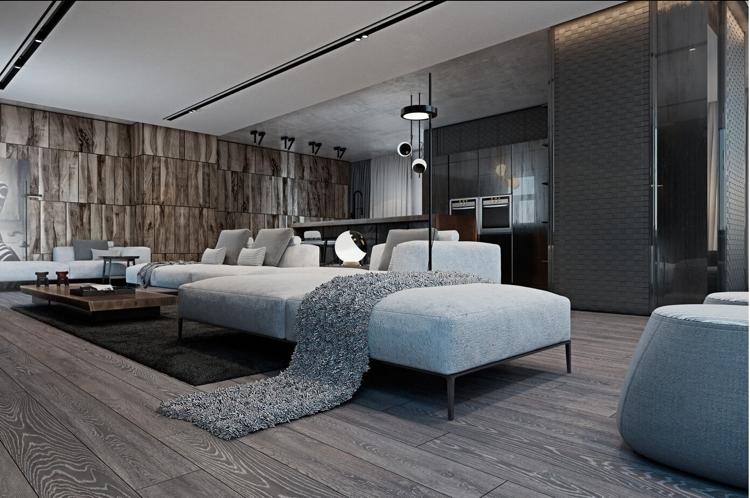 Schon Laminat In Grau Und Holz Wandverkleidung Für Schickes, Modernes Raumambiente