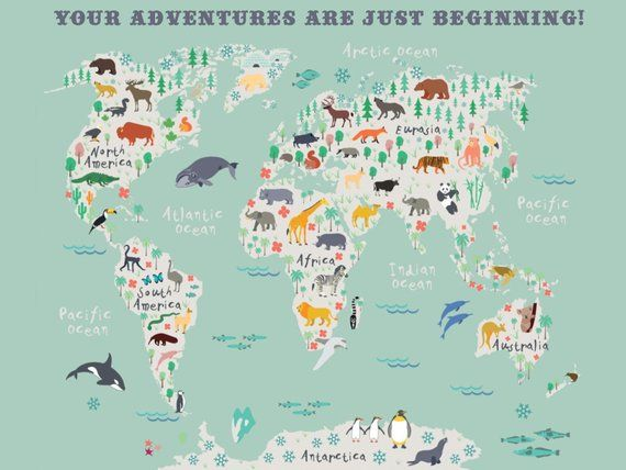 Childrens World Map, Kids Room Art, Nursery Art, Nursery Print ...