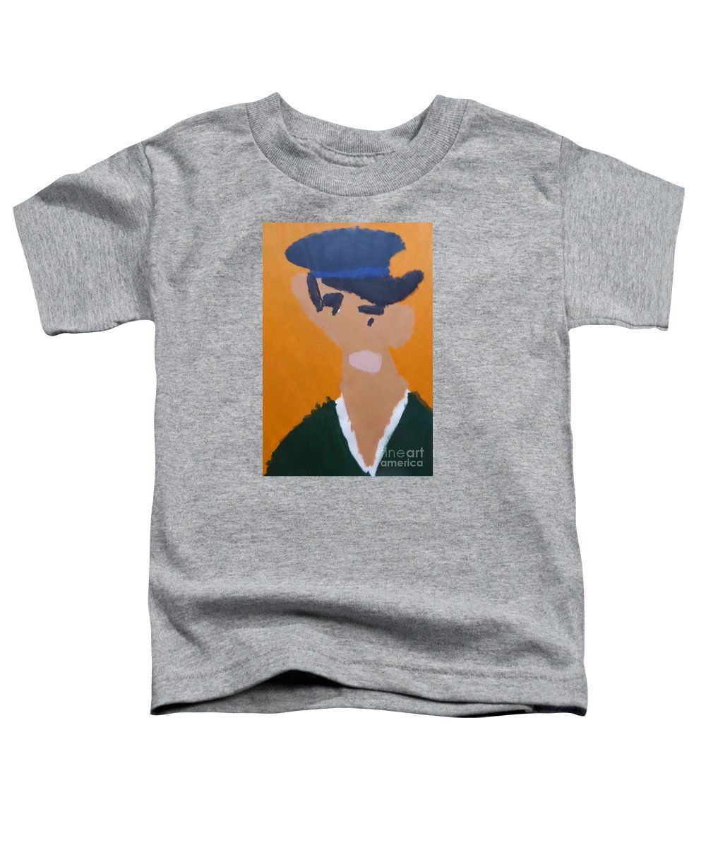 Patrick Francis Heather Designer Toddler T-Shirt featuring the painting Young Man With A Hat 2014 - After Vincent Van Gogh by Patrick Francis