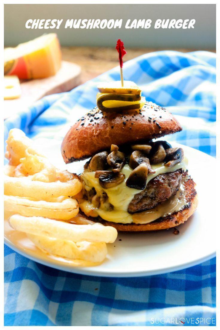 Cheesy Mushroom Lamb Burger. Wonderfully seasoned ground lamb with hints of rose...   - Lunch Recipe Ideas (Bunny's Warm Oven) -