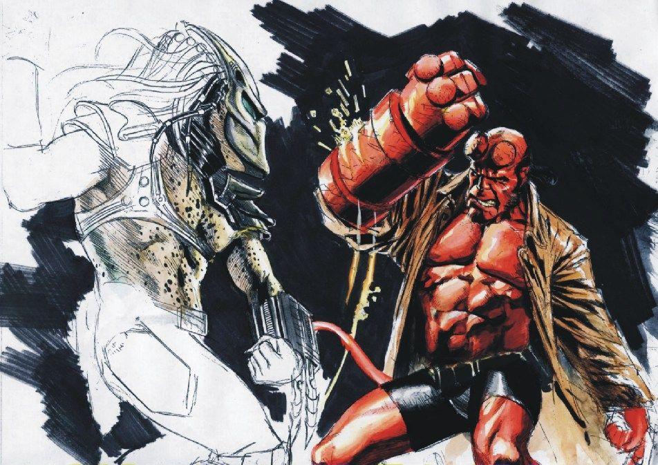 Etrigan Vs Superman Comic: Hellboy VS. Predator Sketch