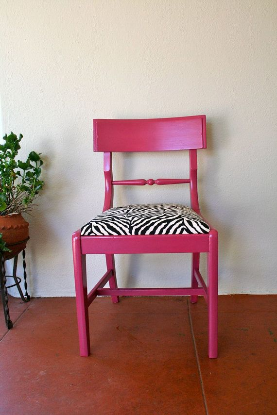 Raspberry Chair With Zebra Cushion