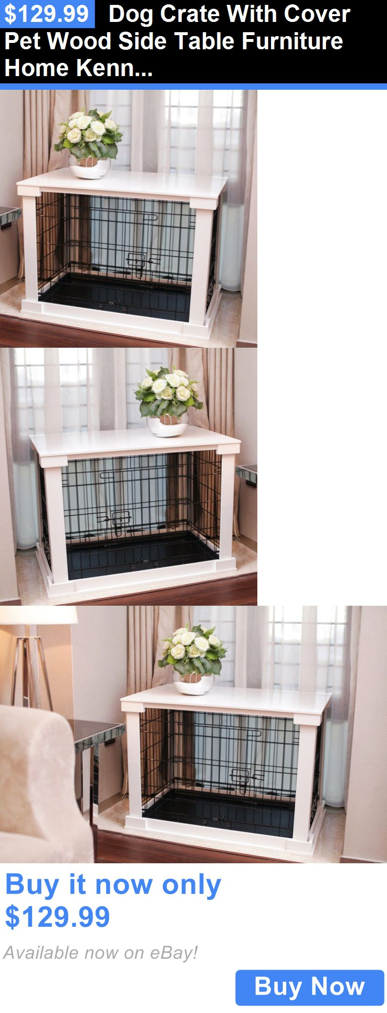 Animals Dog: Dog Crate With Cover Pet Wood Side Table Furniture Home Kennel Wire Cage Small BUY IT NOW ONLY: $129.99