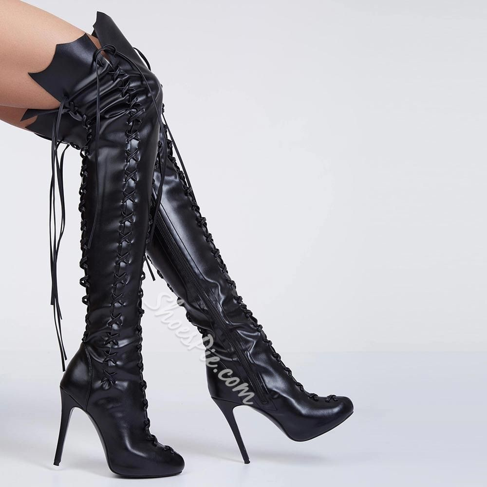 Shoespie Gypsy Plain Lace Up High Heel Thigh High Boots