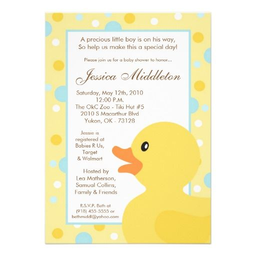 5x7 Polka Dot Rubber Ducky Baby Shower Invitation Zazzle Com Rubber Ducky Baby Shower Invitations Rubber Ducky Baby Shower Baby Shower Invitations For Boys