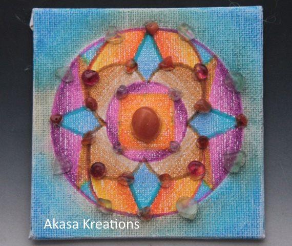Miniature Sacred Geometry Mandala Crystal Healing Grid Oil #2 Pastel Painting Colored Pencil Spiritual Art Artwork. $13 shipped.