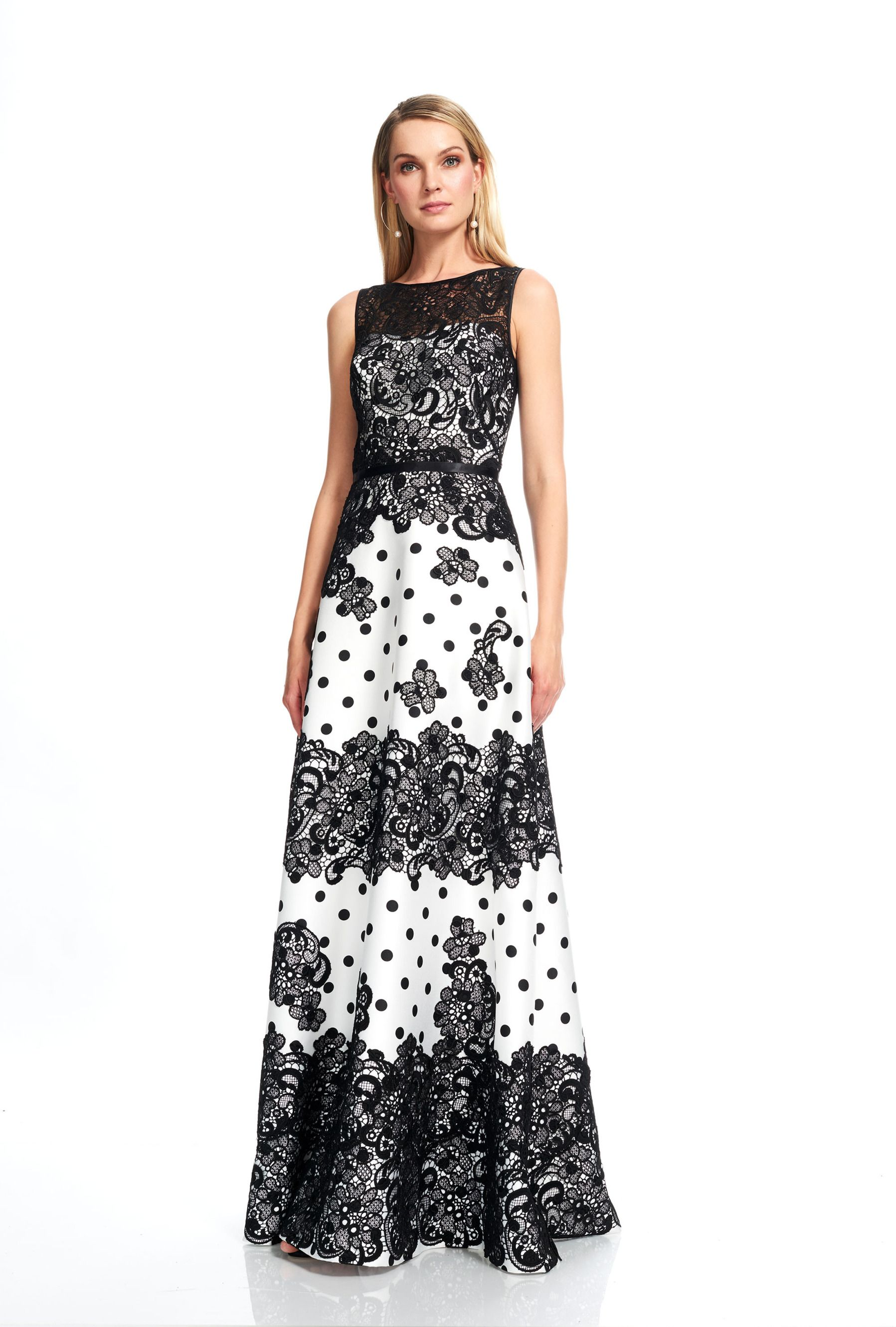 Couture Black White Sleeveless Evening Gown, Black/White | Theia ...