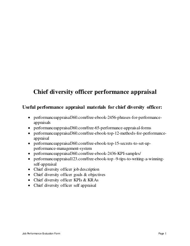 Job Performance Evaluation Form Page 1 Chief diversity officer - hr evaluation form