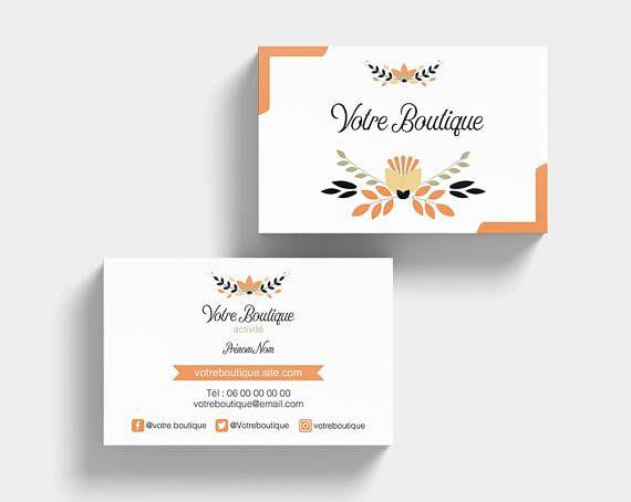 Carte De Visite Elegante Orange Et Noir Creation