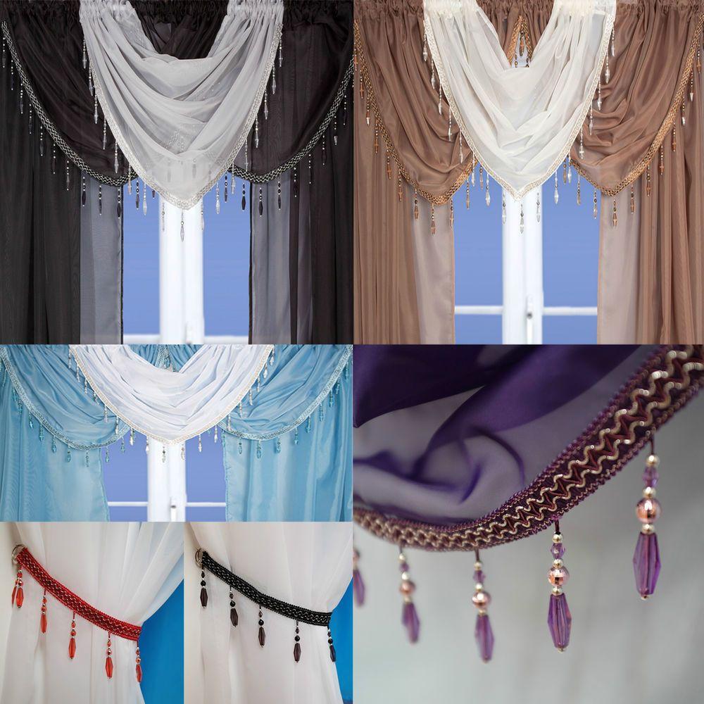 Crystal beaded voile curtain swags all colours pelmet valance net